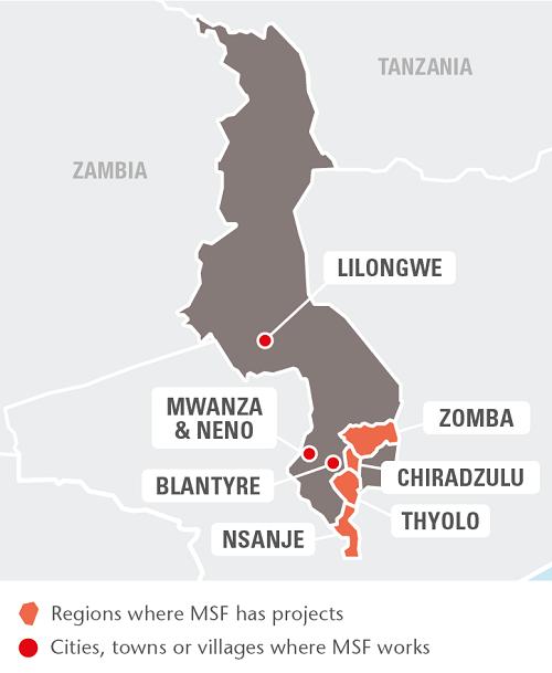 Malawi Médecins Sans Frontières Luxembourg - Malawi map png