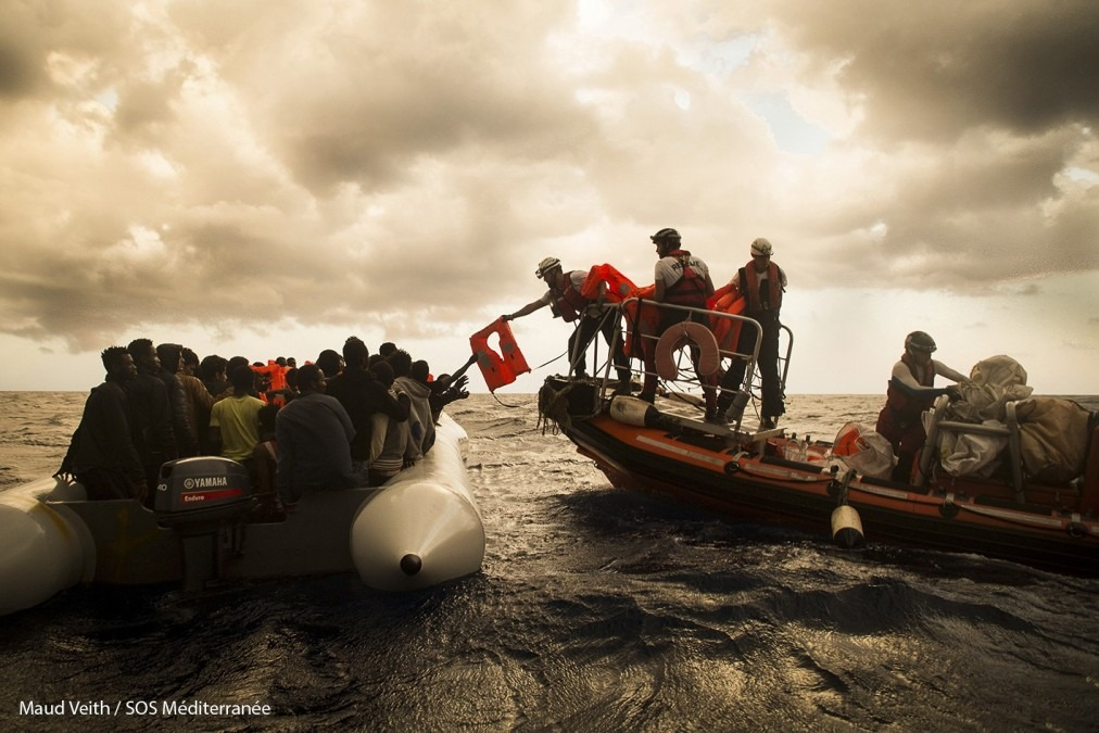 An Aquarius search and rescue mission on 1 November 2017. The team retrieved more than 500 people from three overloaded rubber boats in distress that day, but an unknown number remained missing, presumed drowned. © Maud Veith/SOS Méditerranée