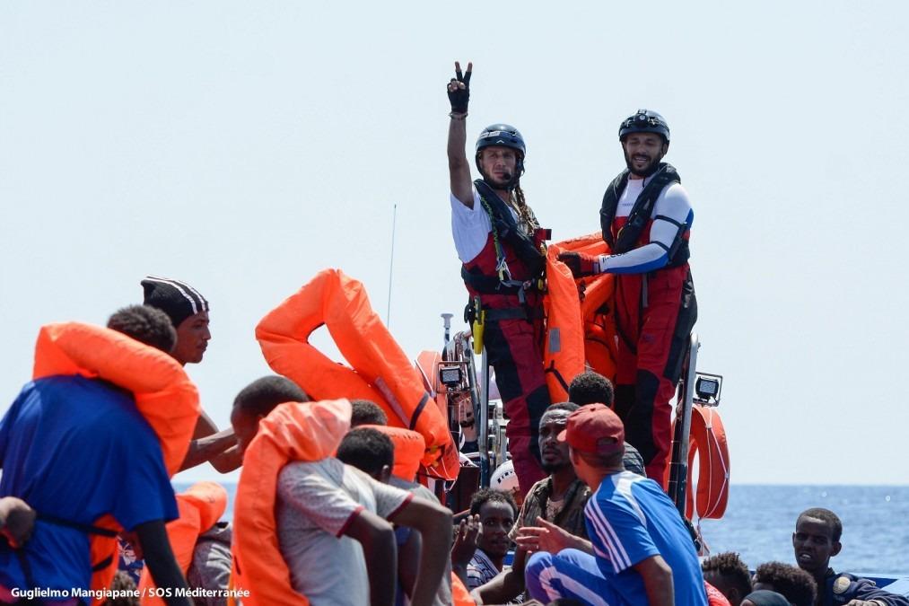 141 personnes ont été secourues en mer Méditerranée par l'Aquarius, bateau de recherche et de sauvetage, géré en partenariat entre SOS MEDITERRANEE et MSF. Août 2018. © Guglielmo Mangiapane/SOS MEDITERRANEE