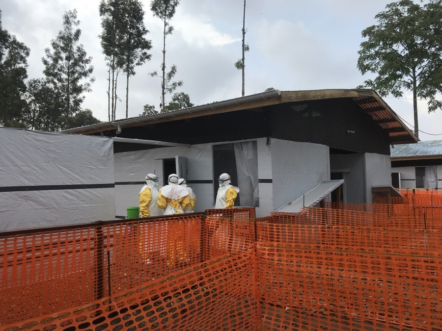 Ouvert le 04/01/19, ce centre de traitement vient répondre à la flambée de nouveaux cas d'Ebola recensés à Katwa. 16 janvier 2019. © Lisa Veran/MSF