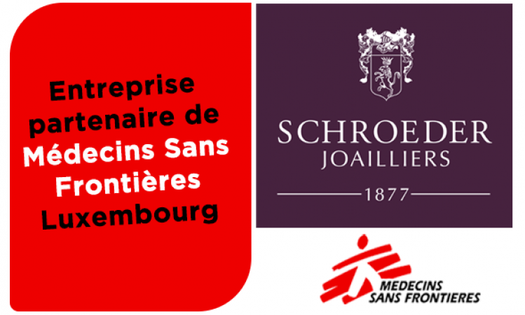 Logo du partenariat joailliers schroeder et msf luxembourg